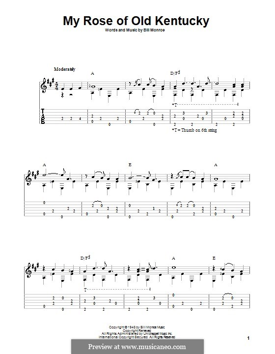 My Rose of Old Kentucky: For guitar with tab by Bill Monroe