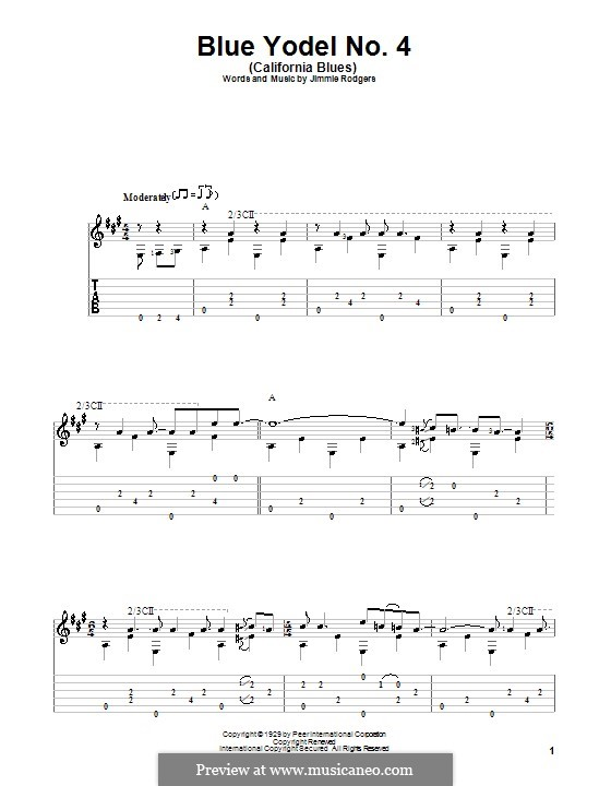 Blue Yodel No.4 (California Blues): For guitar with tab by Jimmie Rodgers