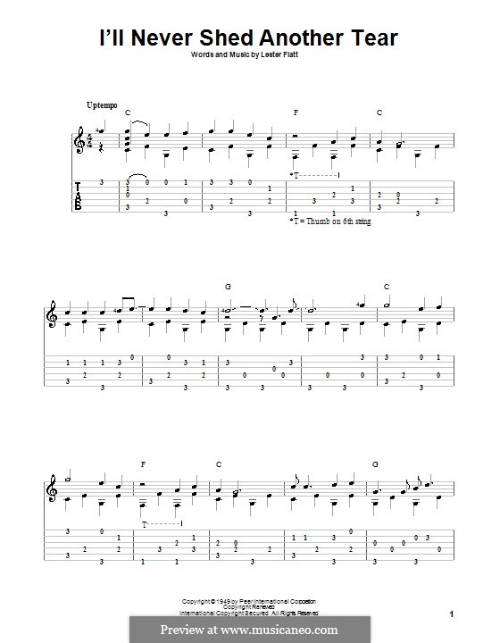 I'll Never Shed Another Tear: For guitar with tab by Lester Flatt