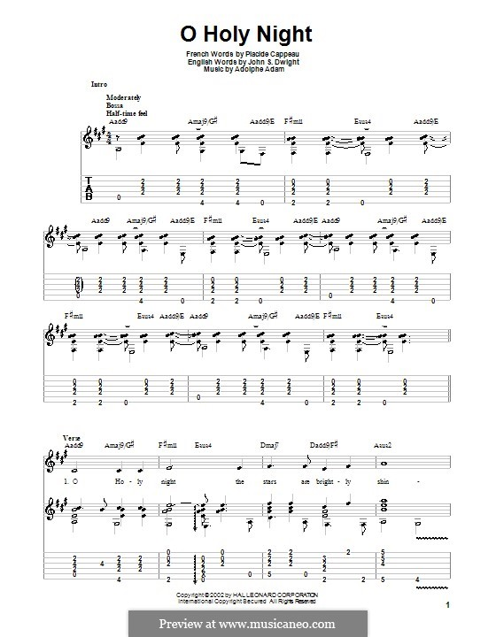 O Holy Night (Printable Scores): For guitar with tabulature (high quality sheet music) by Adolphe Adam