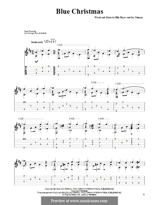 Blue Christmas: For guitar with tab by Billy Hayes, Jay Johnson
