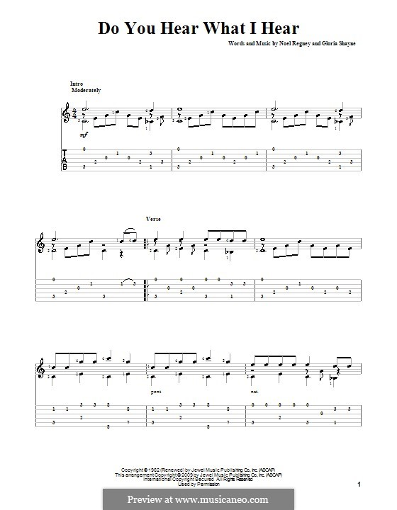 Do You Hear What I Hear: For guitar with tabulature by Gloria Shayne, Noël Regney