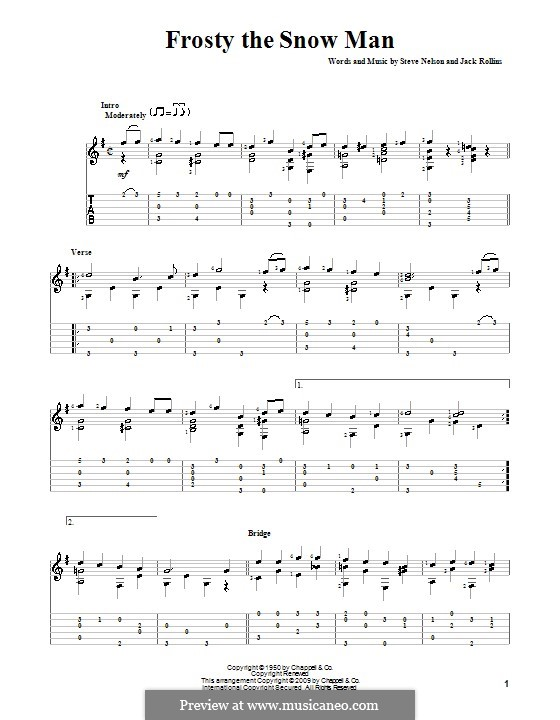 Frosty the Snow Man: For guitar with tablature (G Major) by Jack Rollins, Steve Nelson