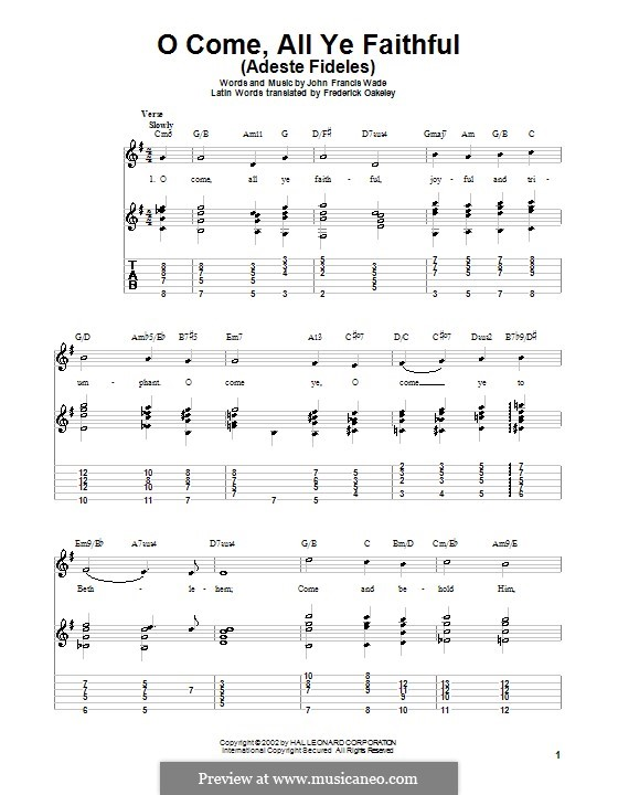 O Come, All Ye Faithful (Printable Scores): For guitar with lyrics by John Francis Wade