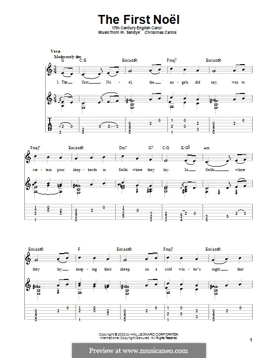 The First Nowell (The First Noël), Printable scores: For guitar with tabulature (C Major) by folklore