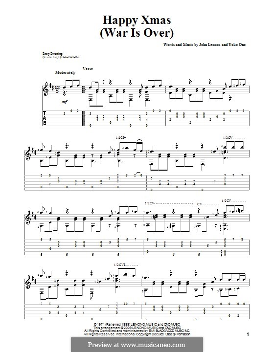 Happy Xmas (War Is Over): For guitar with tab by John Lennon, Yoko Ono
