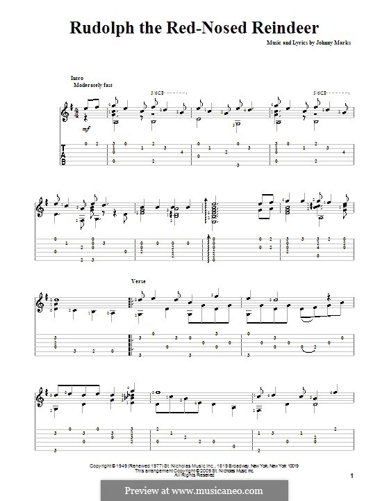 Rudolph the Red-Nosed Reindeer: For guitar with tab by Johnny Marks