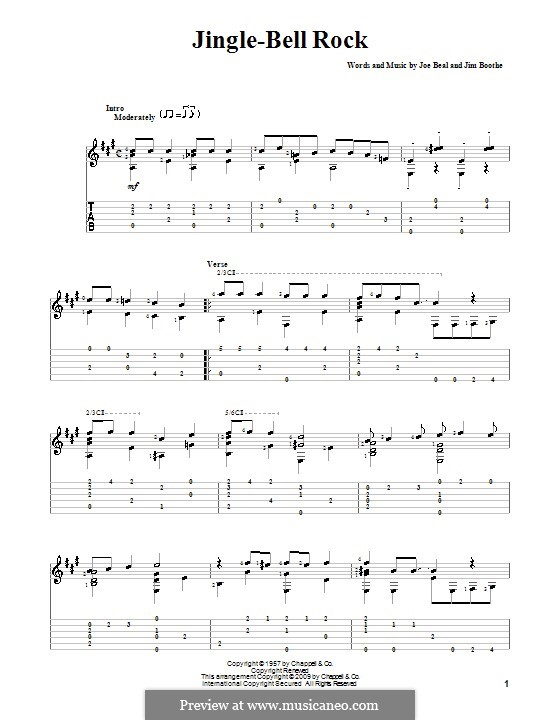 Jingle Bell Rock: For guitar with tabulature (A Major) by Jim Boothe, Joe Beal