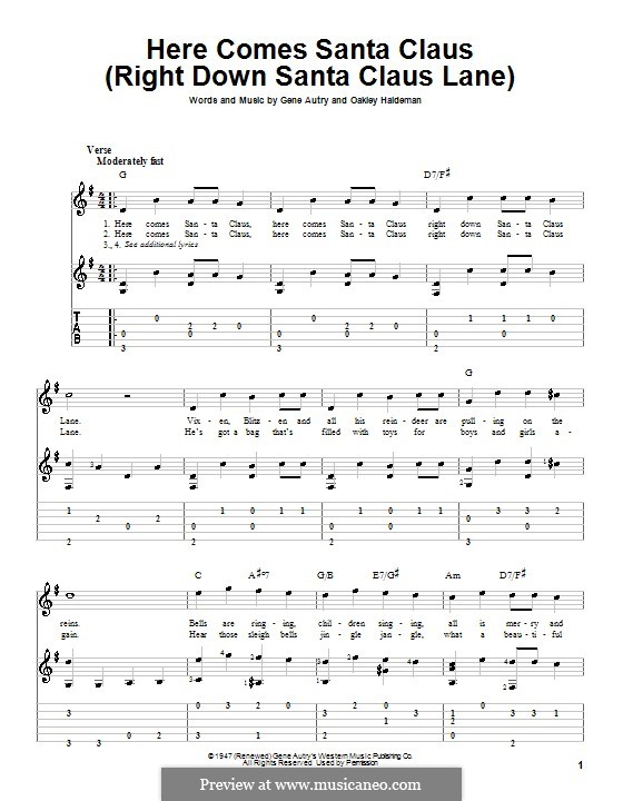 Here Comes Santa Claus (Right Down Santa Claus Lane): For guitar with tab (G Major) by Gene Autry, Oakley Haldeman