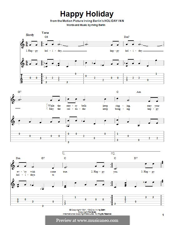 Happy Holiday: For guitar with tab by Irving Berlin