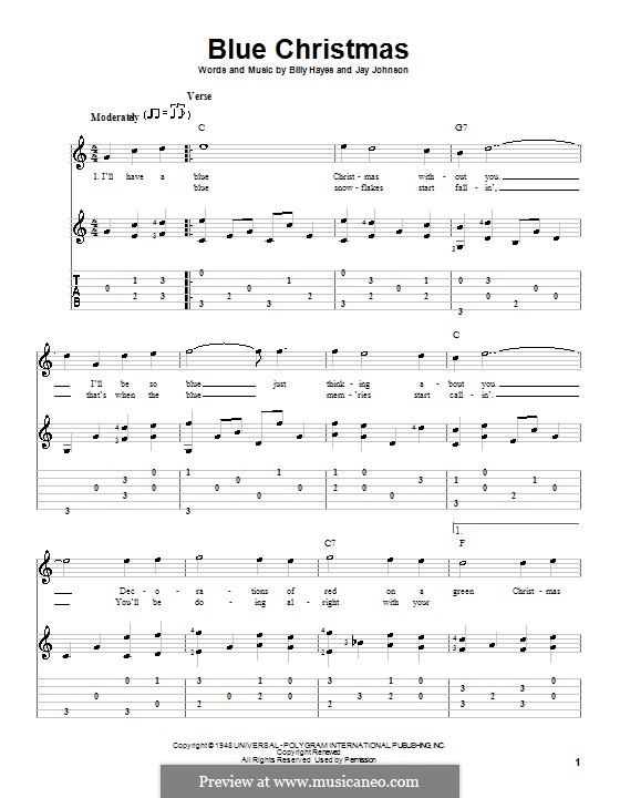 Blue Christmas: For guitar with tab (C Major) by Billy Hayes, Jay Johnson