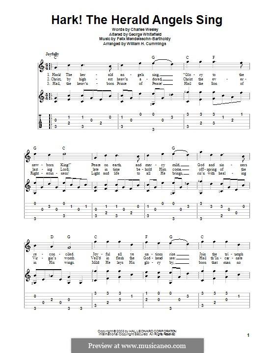 Hark! The Herald Angels Sing, for Solo Instrument: For guitar (C Major) by Felix Mendelssohn-Bartholdy