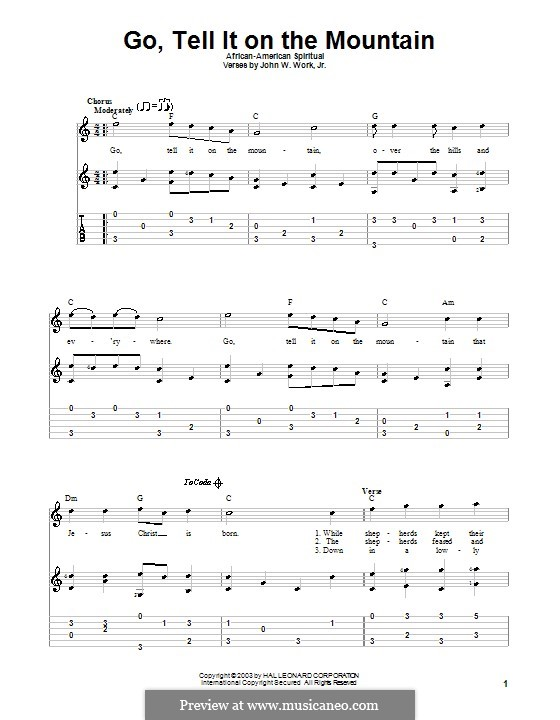 Go, Tell it on the Mountain by folklore - sheet music on MusicaNeo