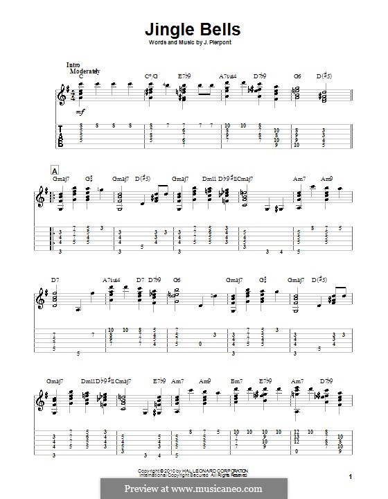 Guitar version: With tabulature (high quality sheet music) by James Lord Pierpont