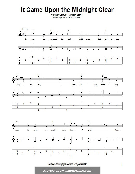 It Came upon the Midnight Clear: For guitar by Richard Storrs Willis