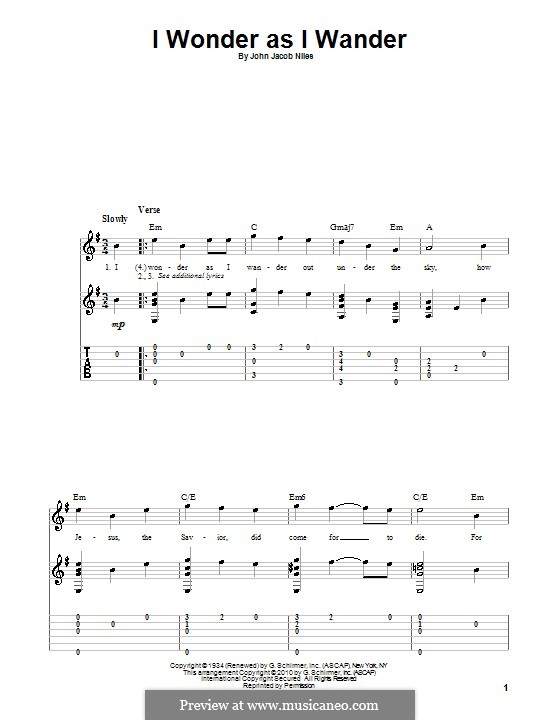 I Wonder as I Wander: For guitar by John Jacob Niles