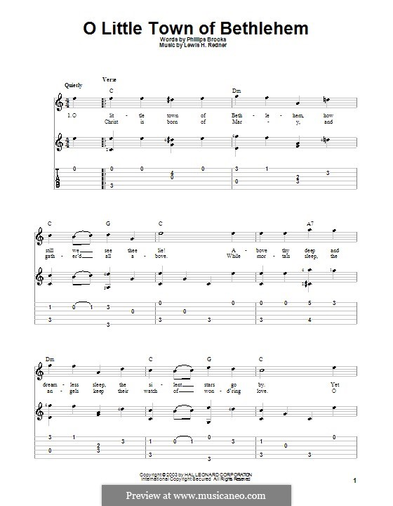 O Little Town of Bethlehem: For guitar with tabulature (C Major) by Lewis Henry Redner