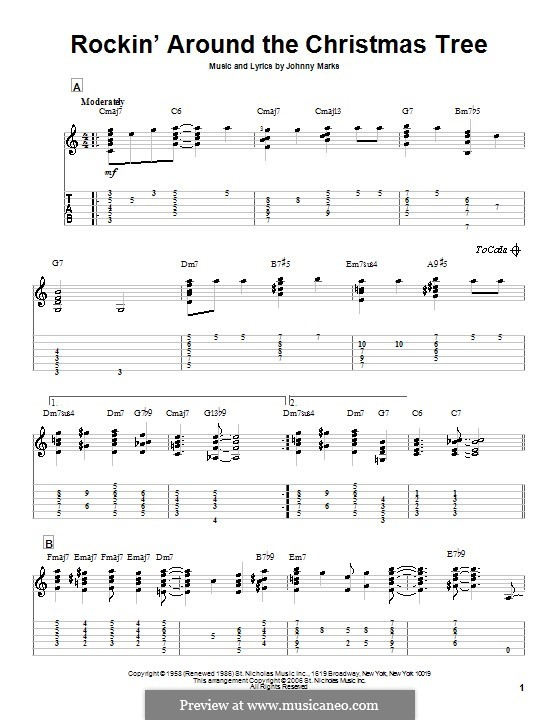 Rockin' Around the Christmas Tree: For guitar with tab by Johnny Marks
