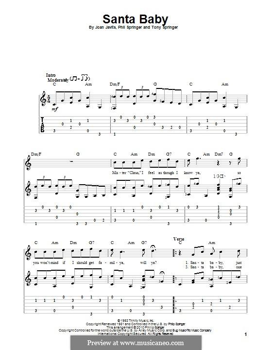 Santa Baby (Eartha Kitt): For guitar with tabulature by Joan Javits, Philip Springer, Tony Springer