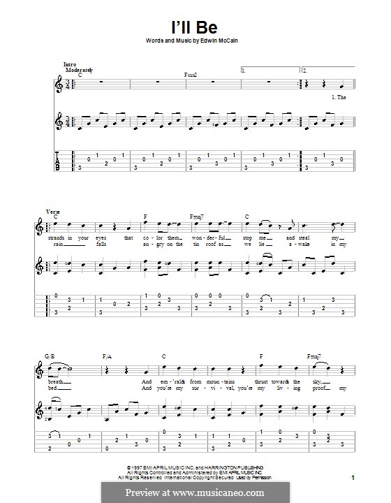I'll Be: For guitar with tab by Edwin McCain