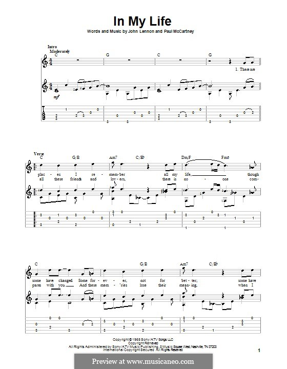 In My Life (The Beatles): For guitar with tabulature and lyrics by John Lennon, Paul McCartney