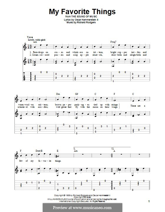 My Favorite Things (from The Sound of Music): For guitar by Richard Rodgers