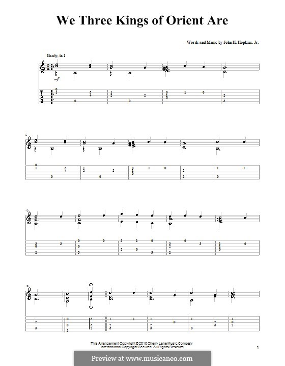 We Three Kings of Orient are (Printable Scores): For guitar with tabulature (A Minor) by John H. Hopkins Jr.