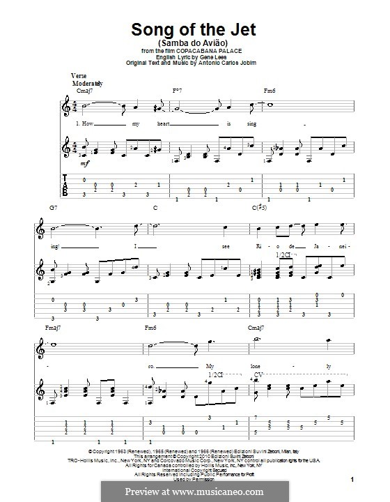 Song of the Jet (Samba do Aviao): For guitar with tablature by Antonio Carlos Jobim