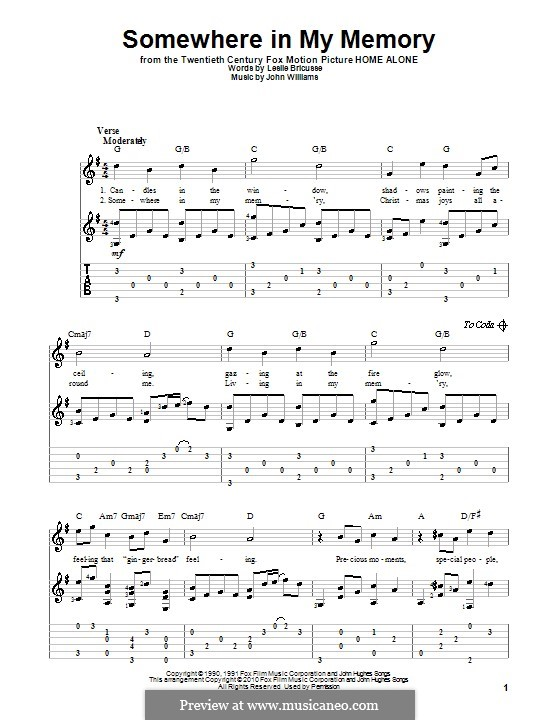 Somewhere in My Memory: For guitar with lyrics by John Williams
