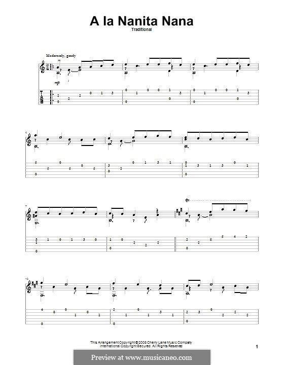A La Nanita Nana (Hear Lullabies and Sleep Now): For guitar with tab by folklore