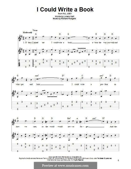 I Could Write a Book: For guitar with tabulature by Richard Rodgers