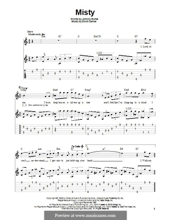 Misty (Johnny Mathis): For guitar with tab by Erroll Garner