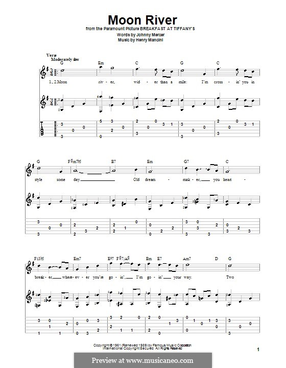 Moon River (from Breakfast at Tiffany's): For guitar with tabulature by Henry Mancini