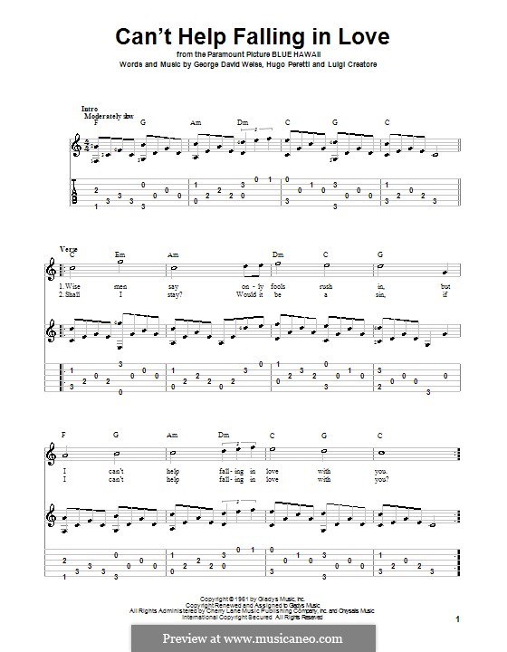 Can't Help Falling in Love: For guitar with tab by George David Weiss, Hugo Peretti, Luigi Creatore