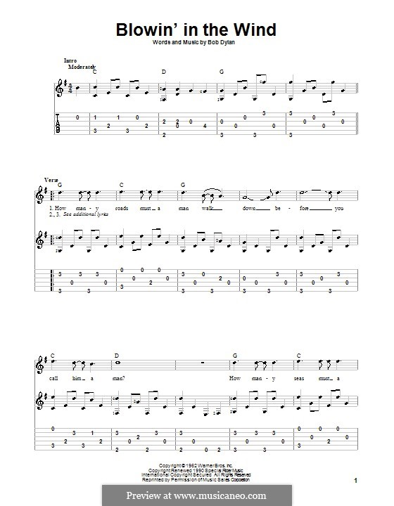 Blowin' in the Wind: For guitar with tab by Bob Dylan
