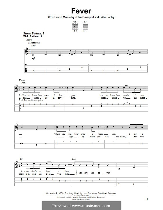Fever: For guitar (very easy version) by Eddie Cooley, John Davenport