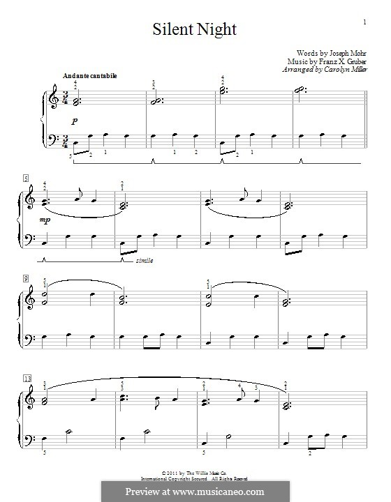 Silent Night, for Piano: With fingering by Franz Xaver Gruber