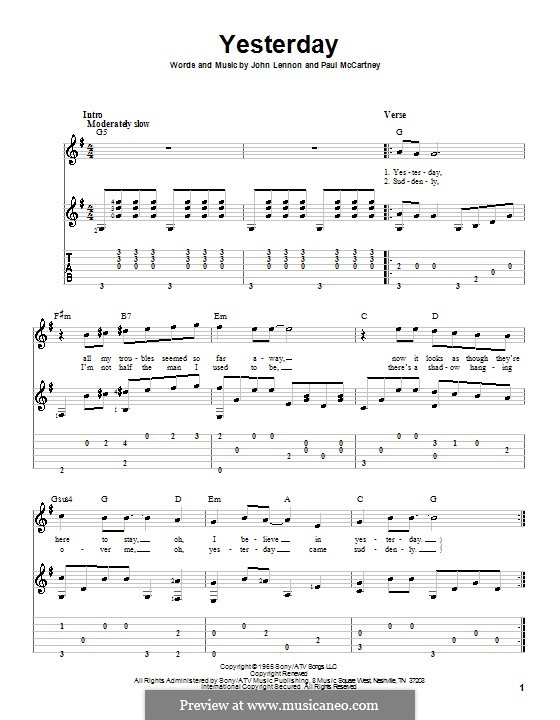 Yesterday (The Beatles): For guitar with tabulature (G Major) by John Lennon, Paul McCartney