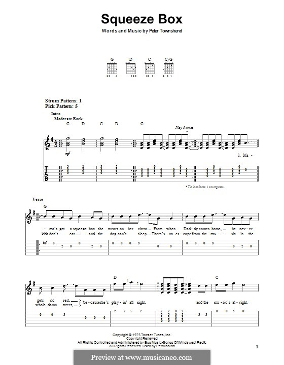 Squeeze Box The Who By P Townshend Sheet Music On Musicaneo