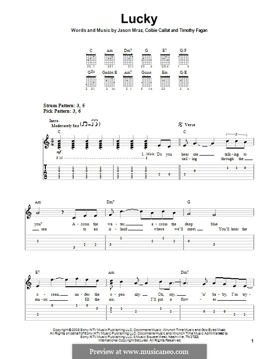 Lucky: Easy guitar tab by Colbie Caillat, Jason Mraz, Timothy Fagan