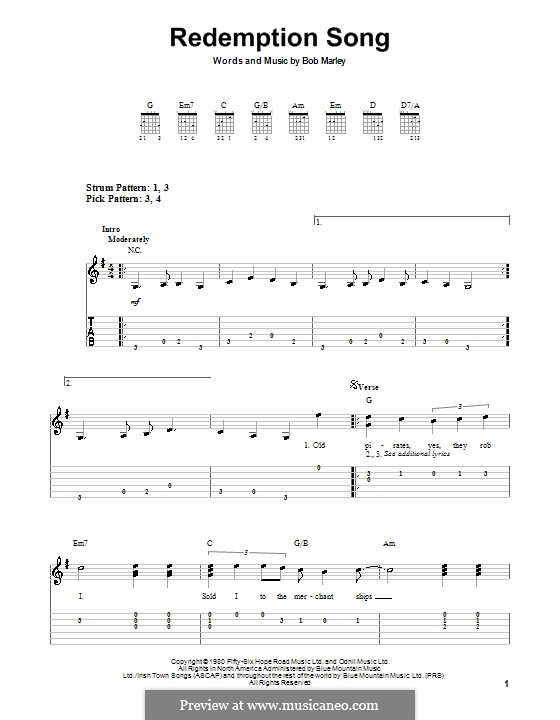Redemption Song: For guitar (very easy version) by Bob Marley