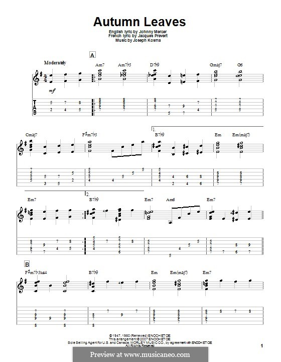 Autumn Leaves: For guitar by Joseph Kosma