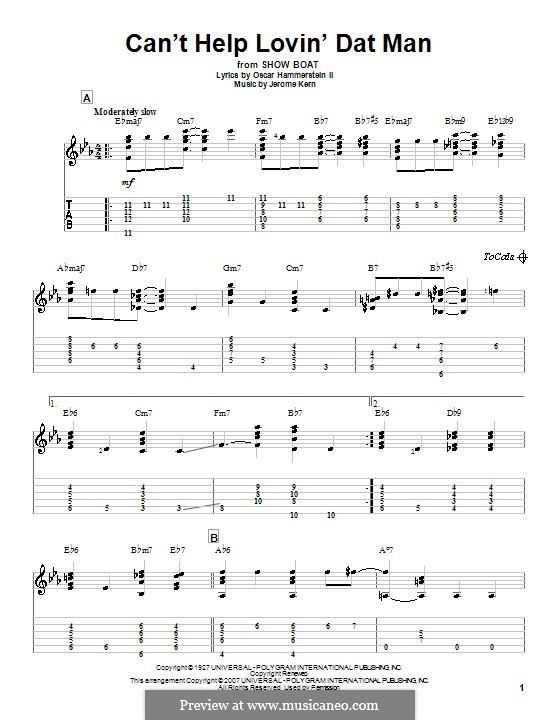 Can't Help Lovin' Dat Man (from Show Boat): For guitar by Jerome Kern