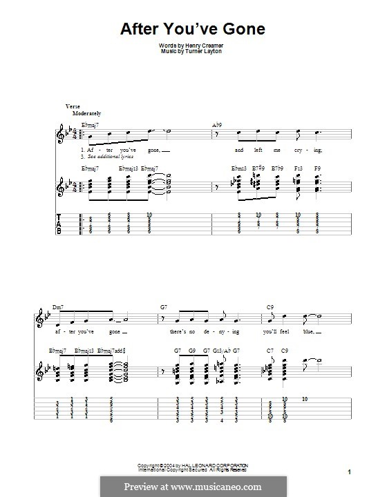 After You've Gone (Sophie Tucker): For guitar with tab by Henry Creamer, J. Turner Layton