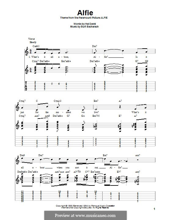 Alfie: For guitar with tab by Burt Bacharach