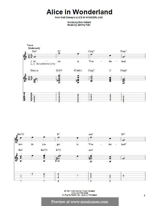 Alice in Wonderland (Bill Evans): For guitar with tab by Bob Hilliard, Sammy Fain