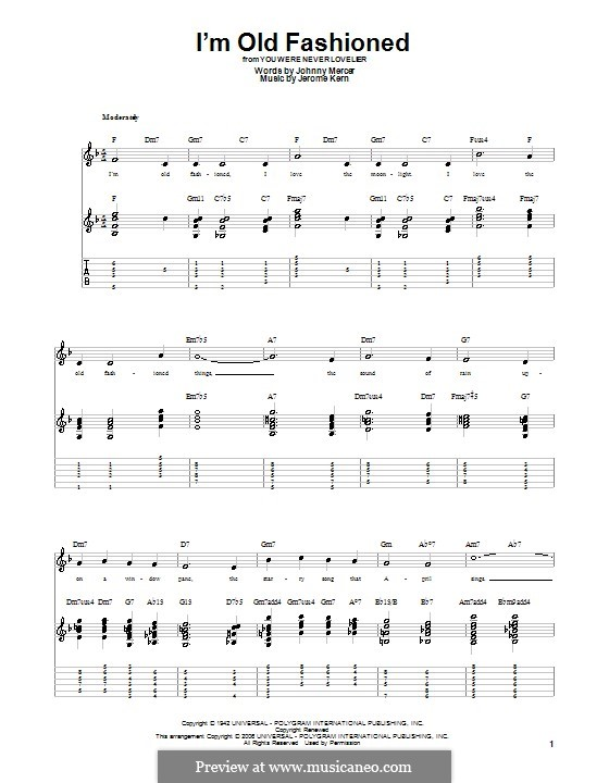I'm Old Fashioned: For guitar with tabulature by Jerome Kern