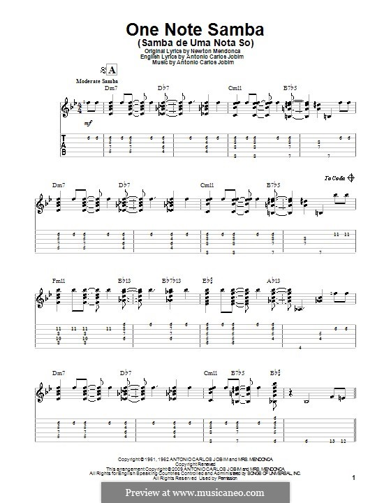 One Note Samba (Samba De Uma Nota): For guitar with tab by Antonio Carlos Jobim