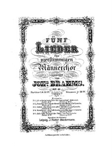 Five Songs, Op.41: Five Songs by Johannes Brahms