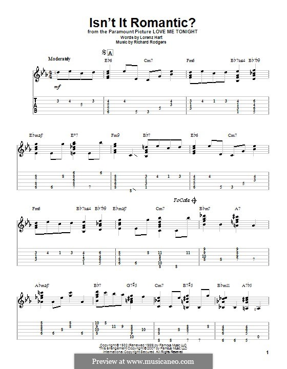 Isn't it Romantic?: For guitar with tabulature by Richard Rodgers